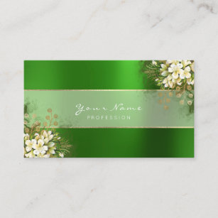 Green emerald gold business cards profile cards zazzle ca event planner white emerald green greenery gold business card reheart Gallery