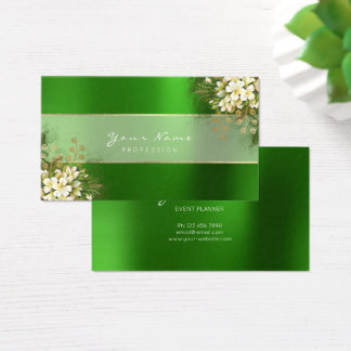 Event Planner White Emerald Green Greenery Gold Business Card