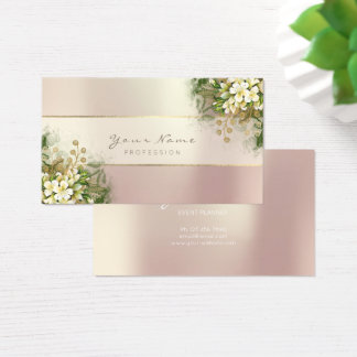 Event Planner White Emerald Green Rose Pink Gold Business Card