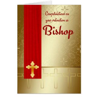 Évêque Ordination In Red et or de félicitations Carte De Vœux