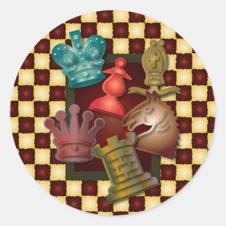 Évêque Pawn de chevalier du Roi la Reine de Adhésif Rond