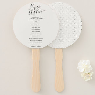 Ever After Calligraphy Script Wedding Program Fan