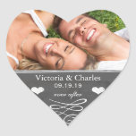 Ever After Chalkboard Wedding Save the Date Seal Heart Sticker