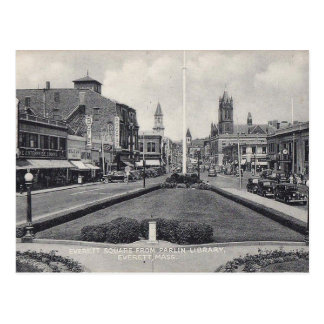 Everett MA, Square from Parlin Library Vintage Postcard