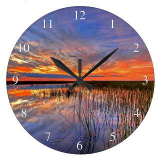 Everglades Sunset Large Clock