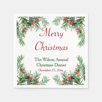 Evergreen and Red Berries Christmas Napkins Disposable Napkin