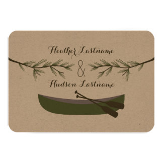 "Evergreen Branches + Canoe Wedding R.S.V.P. 3.5"" X 5"" Invitation Card"