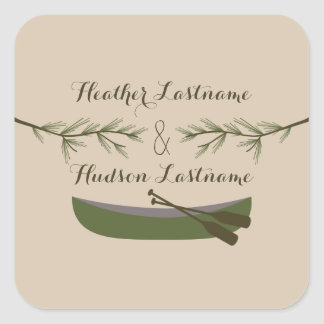 Evergreen Branches & Canoe Wedding Sticker