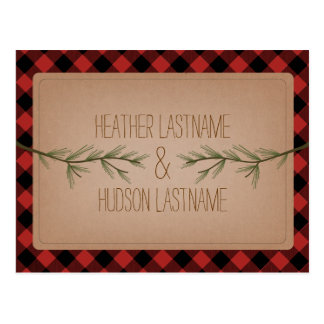 Evergreen Branches Plaid Rustic Save The Date Postcard