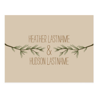 Evergreen Branches Rustic Save The Date Postcard