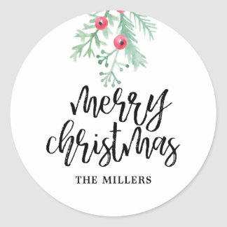 Evergreen Christmas Holiday Personalized Stickers