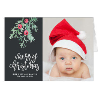 Evergreen Christmas Holiday Photo Folded in Slate Card