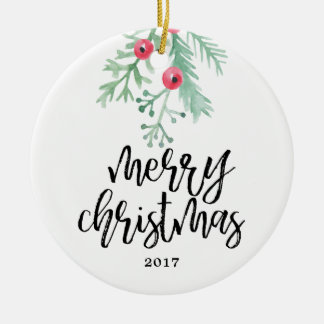 Evergreen Christmas Holiday Photo Ornament