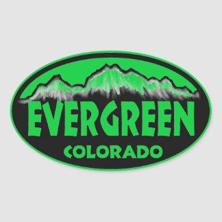 Evergreen Colorado green oval stickers