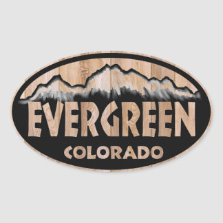 Evergreen Colorado wooden sign oval stickers