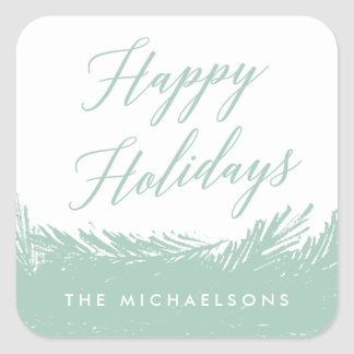Evergreen Frost Personalized Holiday Stickers