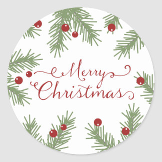 Evergreen Greetings - Christmas sticker