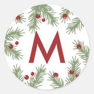 Evergreen Greetings - Monogrammed Sticker