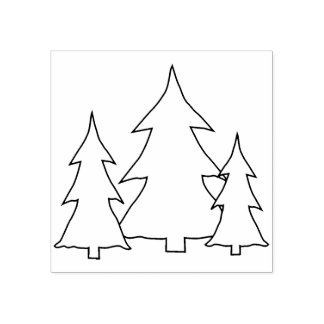 Evergreen Pine Trees Illustration Line Art Drawing Rubber Stamp