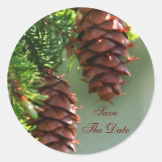 Evergreen Pinecone Save The Date Wedding Sticker