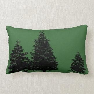 evergreen prints on green pillow
