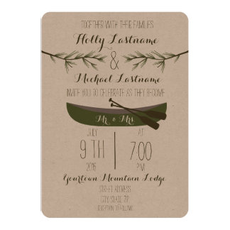 Evergreen Trees + Canoe Wedding Card