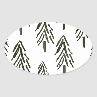 Evergreen trees oval sticker