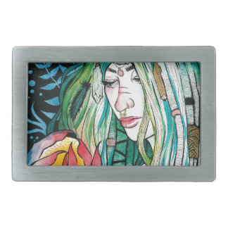 Evergreen - Watercolor Portrait Belt Buckles