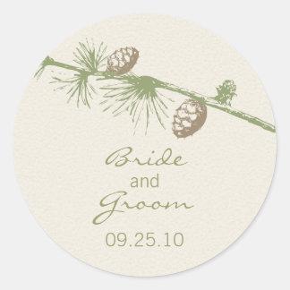 Evergreen Wedding Date Sticker