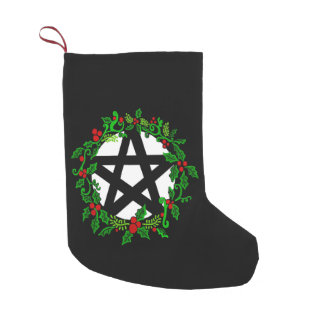 Evergreen Yule Pagan Pentacle Small Christmas Stocking