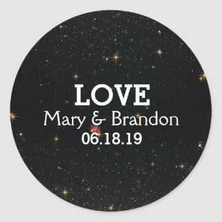 Everlasting Star Universe Nebula Wedding Round Sticker