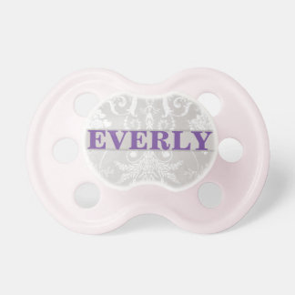 """""""Everly"""" Personalized Vintage Damask Baby Pacifier"""