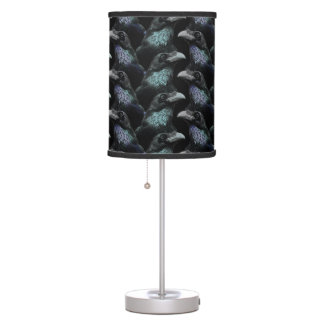 Evermore Gothic Raven Conspiracy Trad Goth Pattern Table Lamp