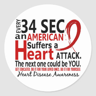 Every 34 Seconds Heart Disease / Attack Classic Round Sticker