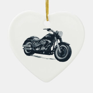 Every Boy loves a Fat Blue American Motorcycle Ceramic Ornament