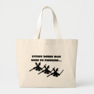 Every bunny was kung fu fighting... large tote bag
