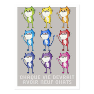 Every life should have nine cats postcard