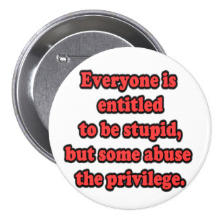 Every One Is Entitled To Be Stupid 3 Inch Round Button