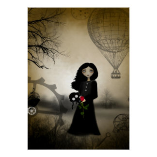 Every Rose Has It's Thorn Steampunk Art Poster