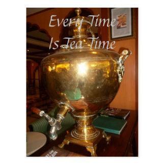 Every Time is Tea Time Golden tea Pot post card