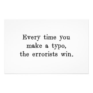 Every Time You Make a Typo The Errorists Win Stationery Paper