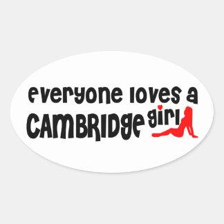 Everybody loves a Cambridge Girl Oval Sticker