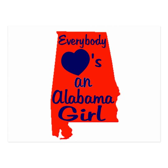 Everybody Loves an Alabama Girl Orange and Navy Postcard