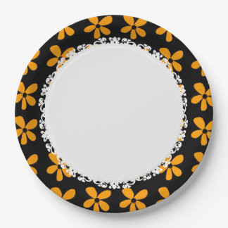 Everyday-Daisy-Paper-Plates(c)Black-Gold Paper Plate