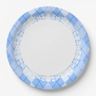 Everyday_Dinner_Paper-Plates(c)Lace-Blue_Argyle Paper Plate