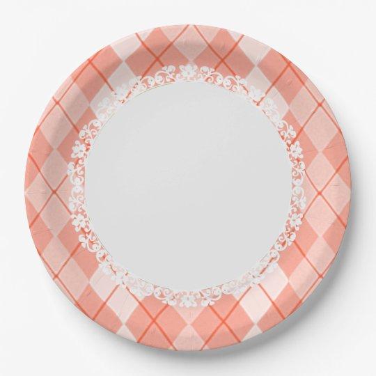 Everyday_Dinner_Paper-Plates(c)Spring-Peach-Argyle 9 Inch Paper Plate