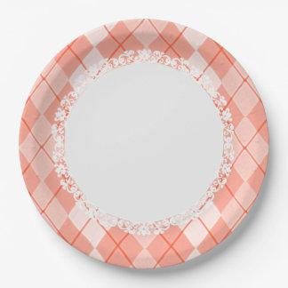 Everyday_Dinner_Paper-Plates(c)Spring-Peach-Argyle Paper Plate