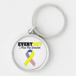 Everyday I Miss My Grandson Military Silver-Colored Round Keychain