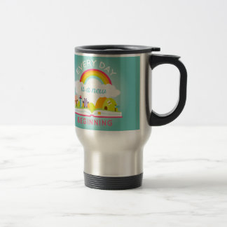 Everyday is a new beginning cute rainbow 15 oz stainless steel travel mug
