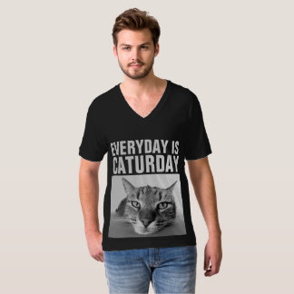EVERYDAY IS CATURDAY Funny Cat T-shirts in black